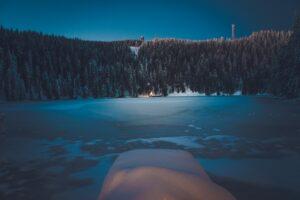 Ein zugeforener Schwarzwaldsee im Winter