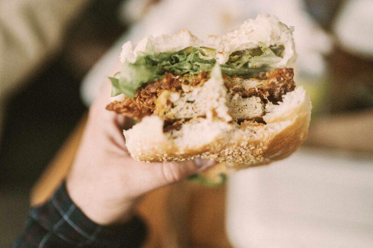 Mann hält einen angebissenen, leckeren veganen Burger in die Kamera