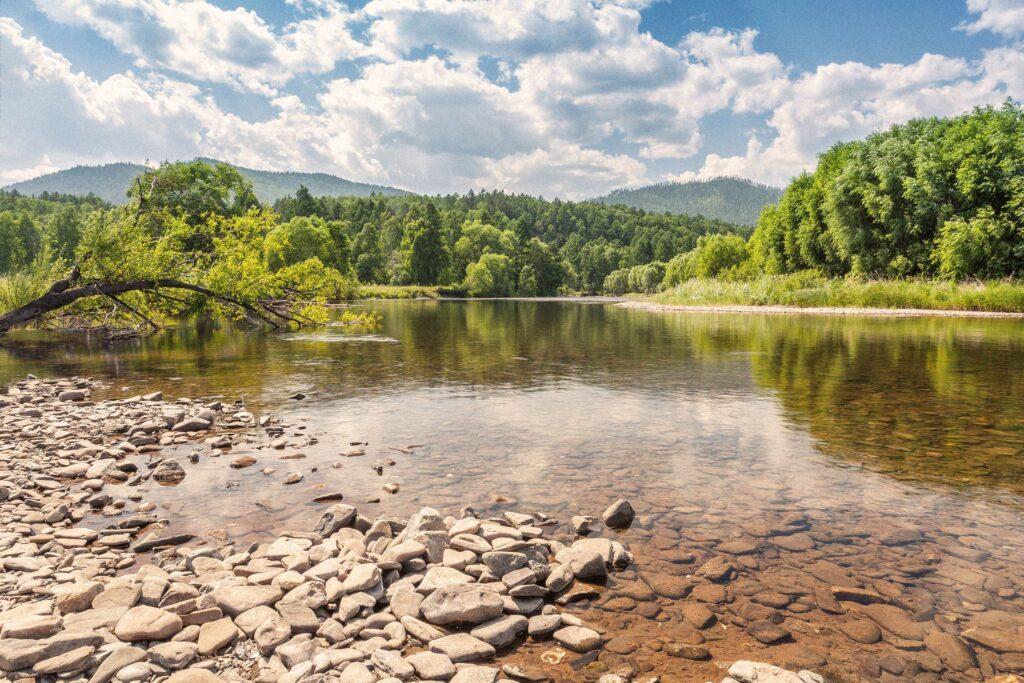 Ein Fluss im Sommer