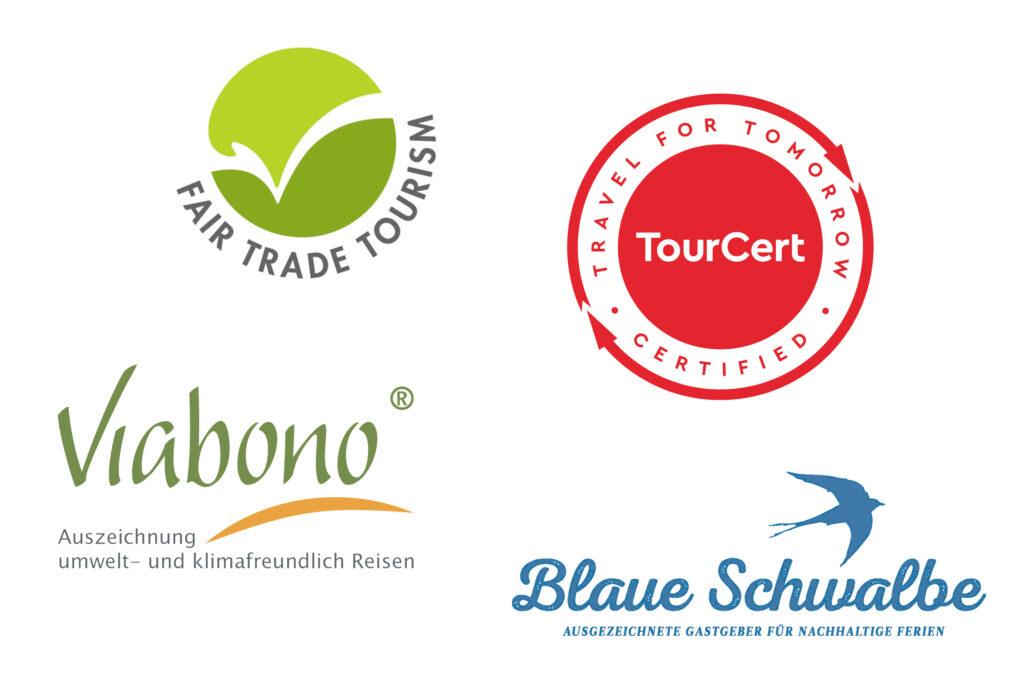 vier Siegel rund um nachhaltiger Tourismus
