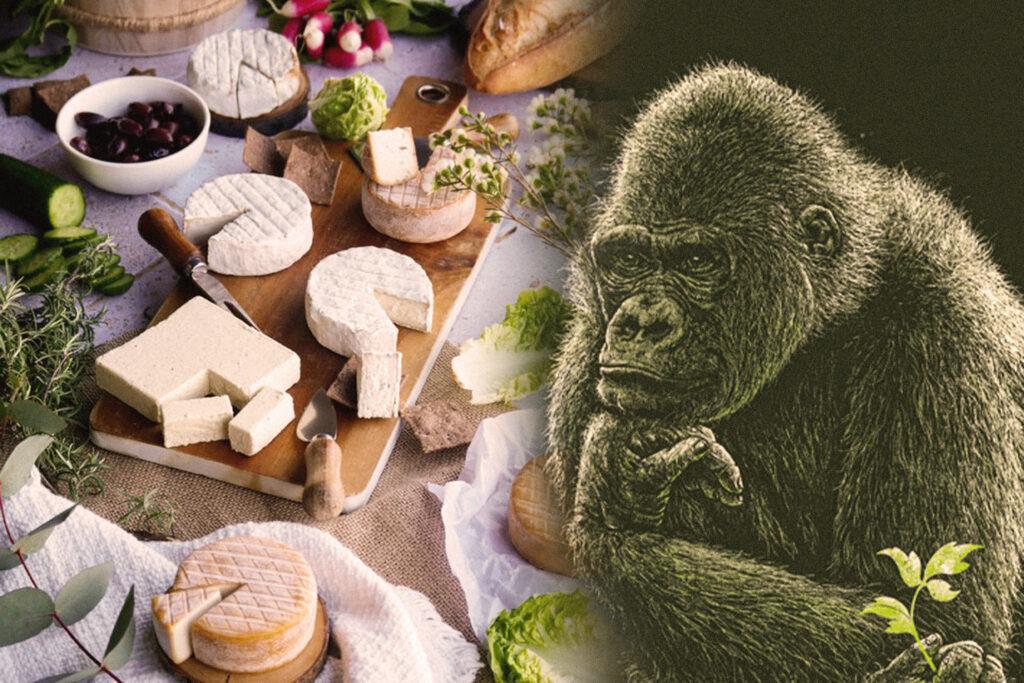Der Affe als Maskottchen der Basel Vegan Messe und veganer Käse